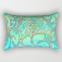 Polynesia Teal Print Rectangular Pillow