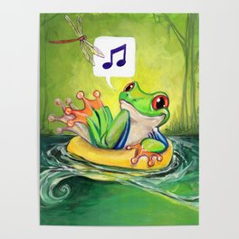 Lazy River Frog Poster