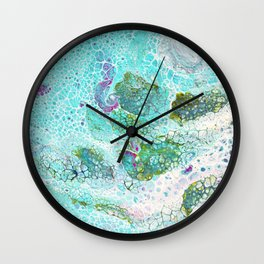 Abstract contemporary painting, aerial view of the ocean and its coral reef Wall Clock