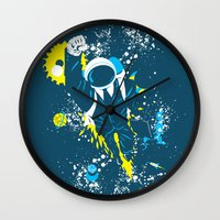 suit Wall Clocks featuring space suit by Jonah Makes Artstuff