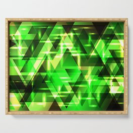 Spring gentle green horizontal strict stripes of sparkling grass triangles. Serving Tray