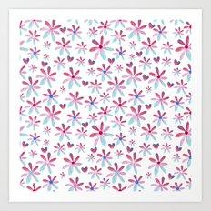 Hearts & Flowers Art Print