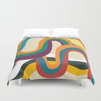 doom Duvet Covers featuring Groovy rainbow of doom by Picomodi