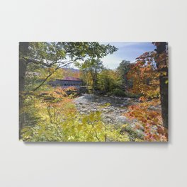 The Albany Covered Bridge During Fall Season Metal Print