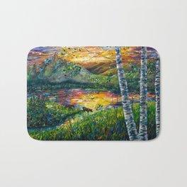 Sleeping Meadow - Colorado Moose Crossing by OLena Art Bath Mat