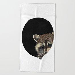 Socially Anxious Raccoon Beach Towel
