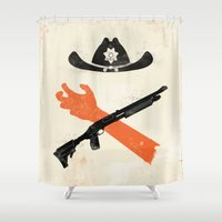 grimes Shower Curtains featuring The Wandering Dead by Wharton