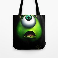 mike wrobel Tote Bags featuring mike wazowski by Dan Solo Galleries