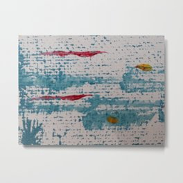 Art Therapy Aqua Blue and Red Metal Print