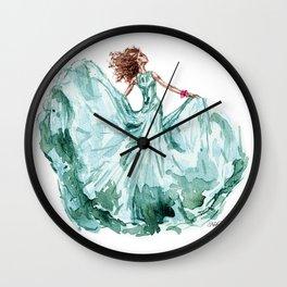 Fashion Blue Turquoise Teal Dress Girl Wall Clock