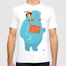 Blue-Monster Piggy-Ride White SMALL Mens Fitted Tee