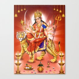 Goddess Durga Indian Art Yoga Lion Canvas Print