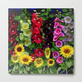 ENGLISH HOLLYHOCKS & SUNFLOWER GARDEN Metal Print