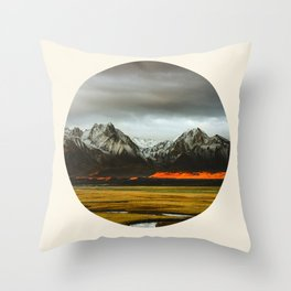 Iceland Landscape Grass Orange Sand & Grey Mountains Round Frame Photo Throw Pillow