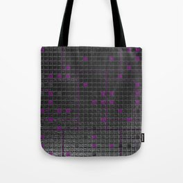 Futuristic industrial brushed metal grate with glowing lines Tote Bag