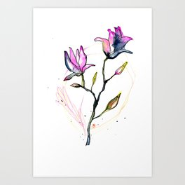 Abstract Flowers - Pink and Grey Art Print