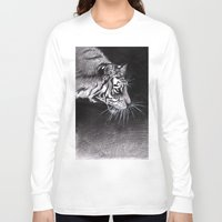 abyss Long Sleeve T-shirts featuring Tiger Abyss by Terese W. Antonsen