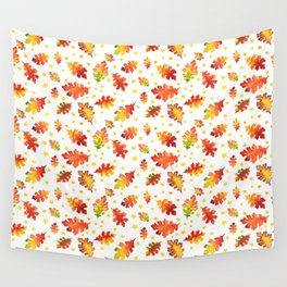 Autumn Nights Leaf and Star Pattern Wall Tapestry