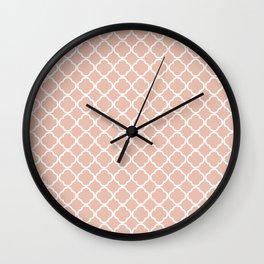 Modern coral white chic quatrefoil pattern Wall Clock