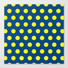 Maize and Blue polka dots Canvas Print