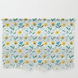 Summer flowers in yellow and blue in white background Wall Hanging