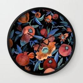 Pomegranate Blossom Black Wall Clock