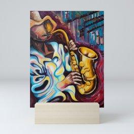 sax player Mini Art Print