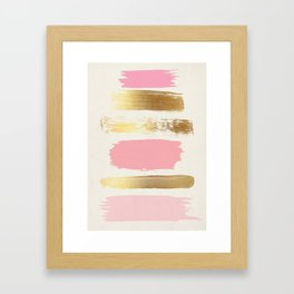 Brush Strokes (Rose/Gold) Framed Art Print
