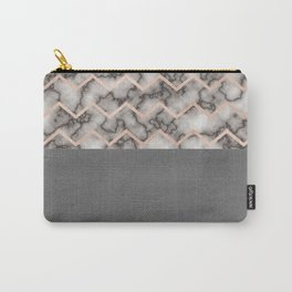 Painted Marble - Black and Rose Gold Carry-All Pouch