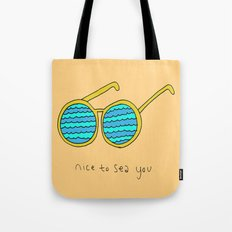 Nice to Sea You Retro Shades Coral Tote Bag