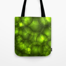 Glowing light green soap circles and volumetric green bubbles of air and water. Tote Bag