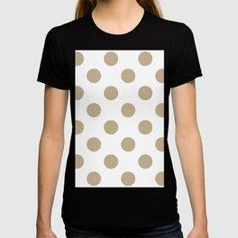 Large Polka Dots - Khaki Brown on White T-shirt