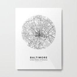 Baltimore Circle Map Metal Print