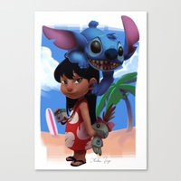 lilo and stitch Canvas Prints featuring Lilo & Stitch by Archiri Usagi