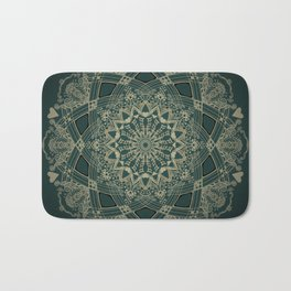 Mandala Project 263   Gold and Black on Forest Green Bath Mat