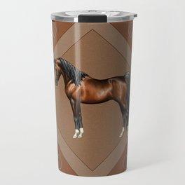 Dark Bay Arabian Horse with 4 White Socks Travel Mug