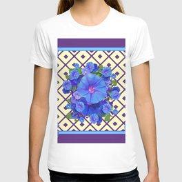 Cream Color Purple Pattern Blue Floral T-shirt