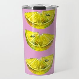 Lemon Slices Pink Travel Mug