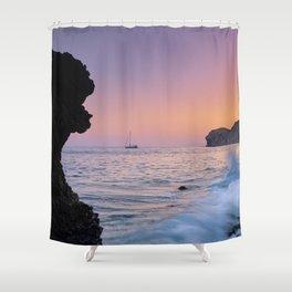 Big Wave. La Joya Beach At Sunset. Spain Shower Curtain