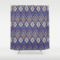 ikat Shower Curtains featuring IKAT by Isabella Salamone