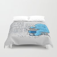 potter Duvet Covers featuring Hairy Potter by awkwardyeti