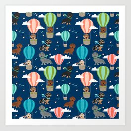 Dachshund hot air balloon dog cute design fabric doxie pillow decor phone case Art Print