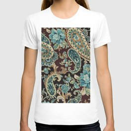 Brown Turquoise Paisley T-shirt