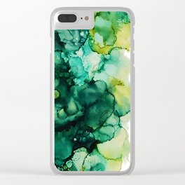 Greenery Abstract Art Clear iPhone Case