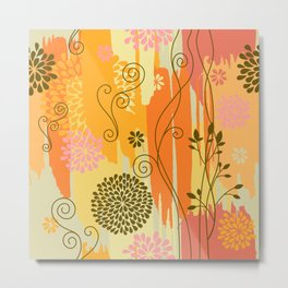 Boho Floral Pattern Var. 9 Metal Print