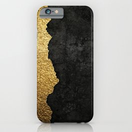 Gold torn & black grunge iPhone Case