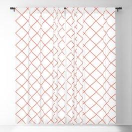 Pantone Living Coral Thin Line Stripe Grid (Pinstripe Pattern) on White Blackout Curtain