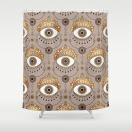 Gold Eyes Pattern Shower Curtain