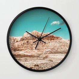 Vintage Red Rock Face // Desert Mountain in Winter Las Vegas Landscape Photograph Teal Sky Wall Clock