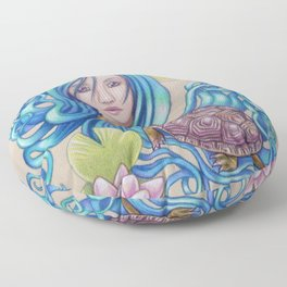 Blue Nova, Turtle Colored Pencil Drawing Floor Pillow